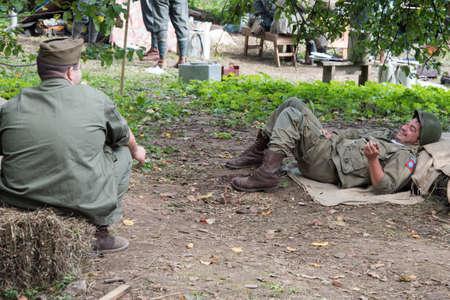 MOSCOW REGION, FRYAZINO, GREBNEVO ESTATE - August 25 2019: Military-historical Festival Dushon maneuvers Editorial