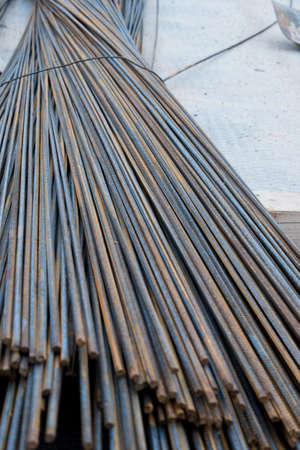 Bars of rebar close-up. Rust. Background Foto de archivo