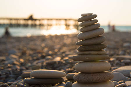 Cairn. The concept of calm and harmony. Background 版權商用圖片