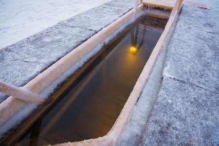 The baptismal font is equipped for bathing on the Orthodox feast of Epiphany. Swimming is organized in the lake. Frost, cold
