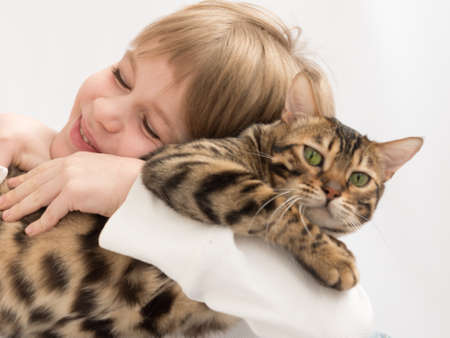 The child hugs the cat tightly. The cat is unhappy. Love to the animals. Enjoyment of communication. Close-up portrait