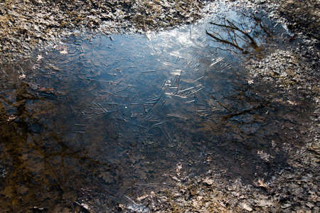 View from above. Frozen puddle. The ice formed a natural pattern. Abstraction
