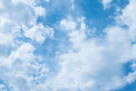 Blue sky and white clouds. Clouds texture. Nice sunny sky. A positive picture Stok Fotoğraf