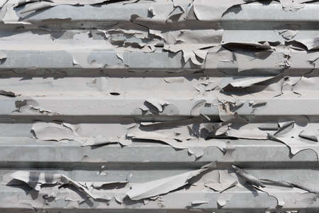 The texture of peeling old paint. Corrugated iron sheet. Background, texture. The concept of dry skin. The concept of aging