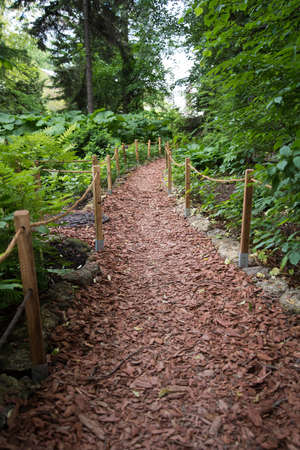 Path in the garden. The path is paved with wood chips. Cozy eco-friendly path