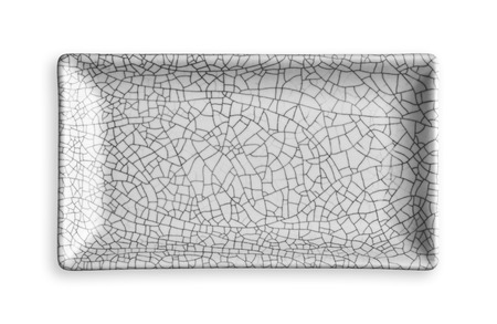Empty rectangular plate in cracked pattern, White ceramics plate, View from above isolated on white background with clipping path Banque d'images