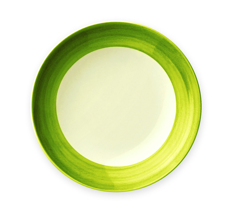 Empty plate with green pattern edge, Ceramic plate with spiral pattern in watercolor styles, View from above isolated on white background with clipping path Reklamní fotografie