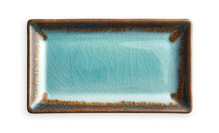 Empty rectangular plate, Blue ceramics plate in cracked pattern, View from above isolated on white background with clipping path