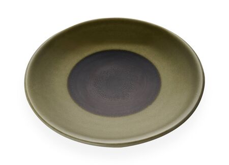 Empty ceramic plates, Classic green plate isolated on white background with clipping path, Side view