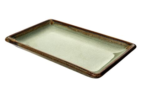 Empty rectangular plate, Green ceramics plate in cracked pattern isolated on white background with clipping path, Side view