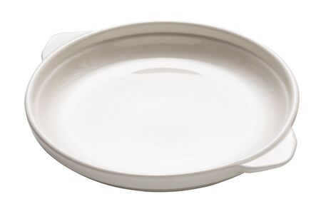 Double handled plate, Empty white  ceramics plates isolated on white background with clipping path, Side view