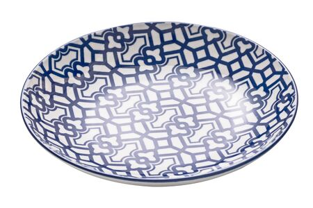 Ceramics decorative plates, Blue and white pottery plate isolated on white background with clipping path, Side view Stok Fotoğraf