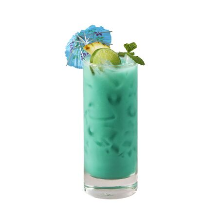 Blue hawaii cocktail, Beautiful blue cocktail, isolated on white background, with clipping path