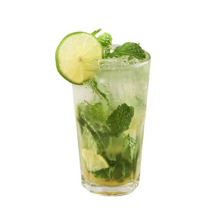 Mojito cocktail, Classic cocktail, isolated on white background, with clipping path Stok Fotoğraf