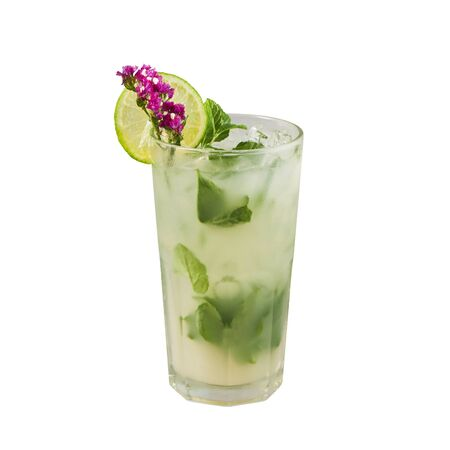Lychee mojito cocktail, Classic cocktail, isolated on white background, with clipping path Stok Fotoğraf