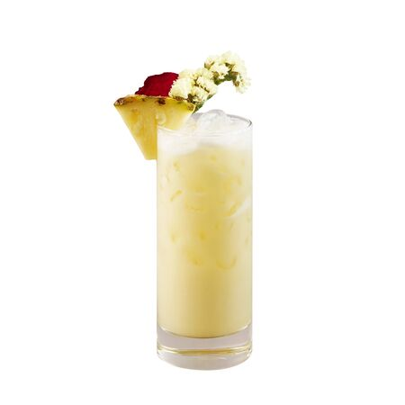 Pina colada cocktail, Pineapple cocktail, isolated on white background, with clipping path