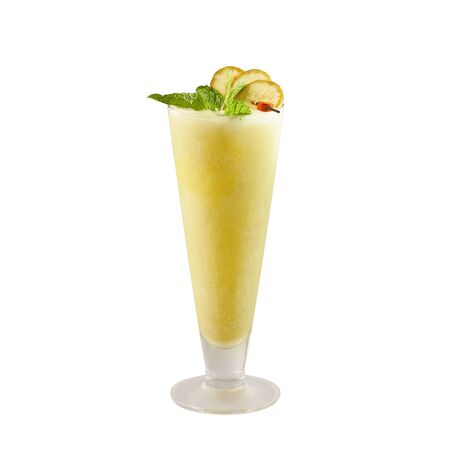 Banana smoothie, isolated on white background, with clipping path