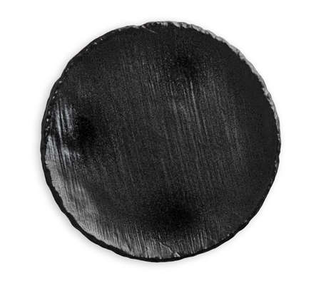 Empty black ceramic plate with rough texture, isolated on white background with clipping path, Top view