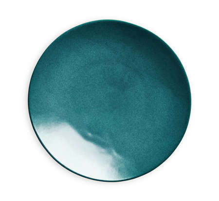 Blue ceramic plate, Empty plate with marble texture, isolated on white background with clipping path, Top view Imagens