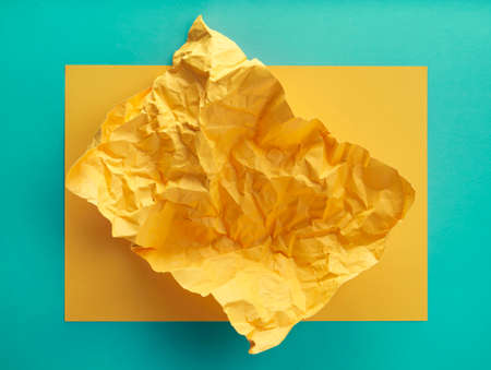Yellow crumpled paper texture background, Yellow paper with blue paper pattern background