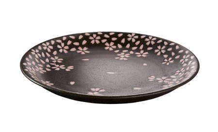 Brown ceramic plate with Cherry blossom pattern, Empty brown plate isolated on white background, Side view