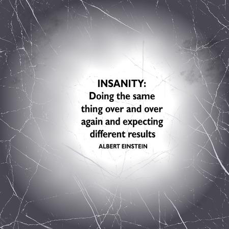 cotizacion: las famosas palabras de Albert Einstein de la sabiduría sobre la locura, resultados y expectativas. Foto de archivo