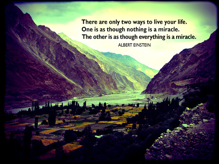 quotations: Albert Einsteins famous life quote, pictured on a Himalayan mountain  valley background. Photo taken in Turtuk, Ladakh, India. Stock Photo