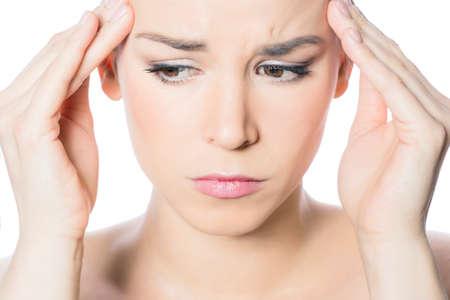 mournful: Woman feeling headache