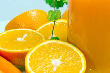 Orange slices and orange juice with menthol photo