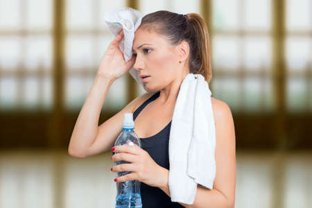 martial arts woman: Woman sweating after training