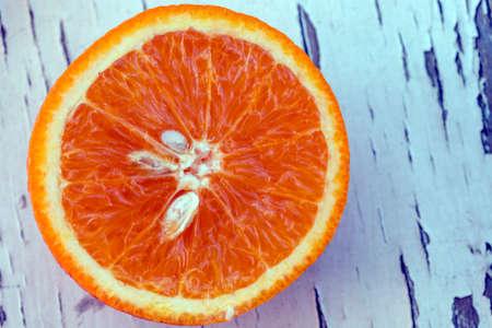 orange slice: Orange slice on a vintage table