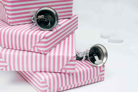 silver bells: Pastel pink gifts and silver bells