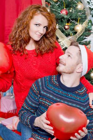happy christmas: Happy couple on Christmas