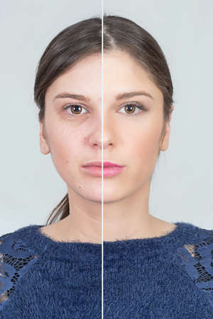aging: Before and after makeup girl