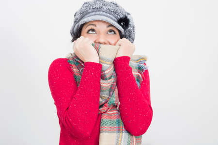 Happy girl in winter time Stock Photo
