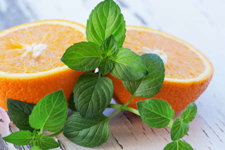 Orange slices and mint leaves