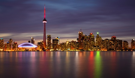 building cn tower: Toronto Skyline at Night and Reflection