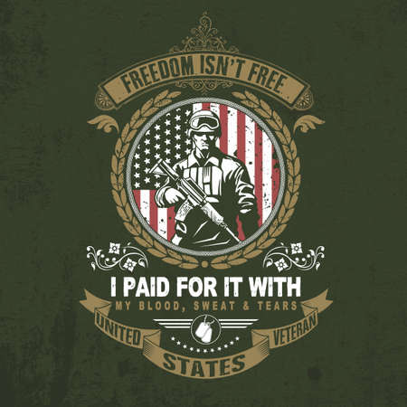 american veteran, freedom isn't free vector design