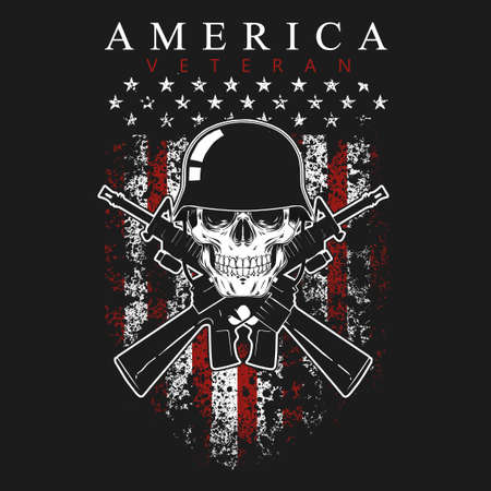 american veteran, skull and gun vector