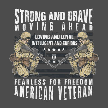 american veteran strong and brave vector design