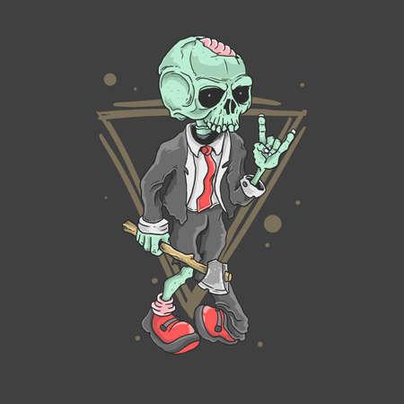 vector de ilustración de balancín zombie lindo