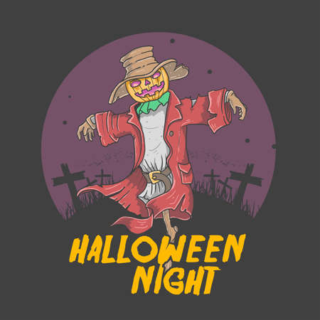 scare crow halloween night illustration vector graphic Illustration