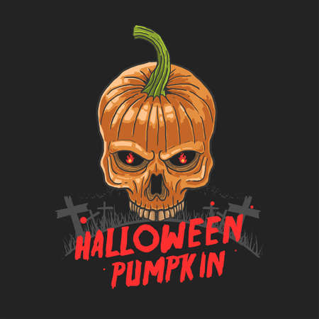 halloween skull pumpkin nightmare illustration vector