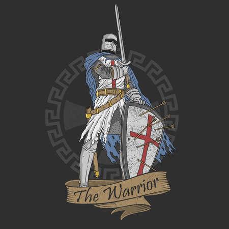 veteran warrior sword and shield illustration vector 向量圖像