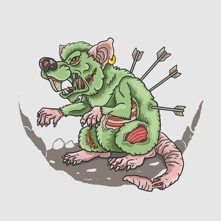 zombie rat killer illustration vector Ilustrace