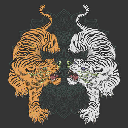 tiger tattoo design wild animal illustration vector