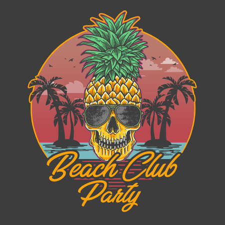 beach club party skull pineapple illustration vector Banque d'images