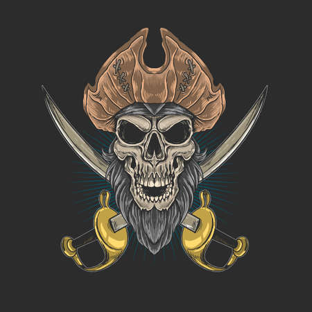 skull beard pirate king ocean