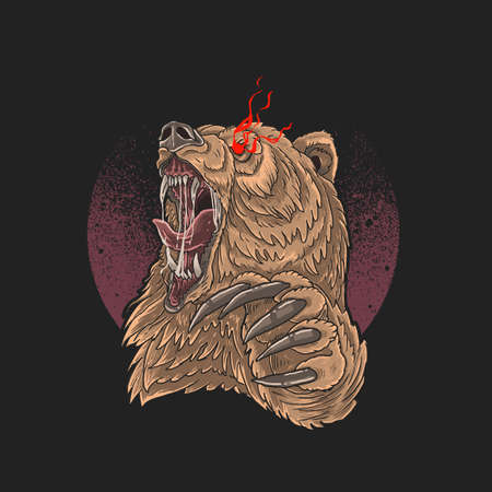 angry bear red eye with sharp claw