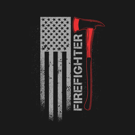 fire fighter axe with american flag grunge Illustration
